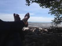 sitting on the beach enjoying the view